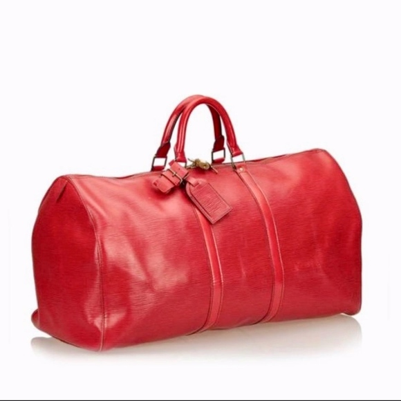 03944bbb36e Louis Vuitton Red Epi Leather Weekend Keepall 55